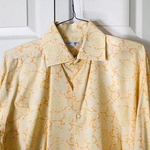 Beautiful yellow Paisley pattern French cuff shirt